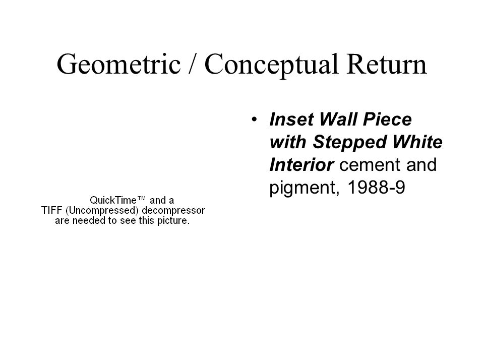 Geometric / Conceptual Return Inset Wall Piece with Stepped White Interior cement and pigment, 1988-9