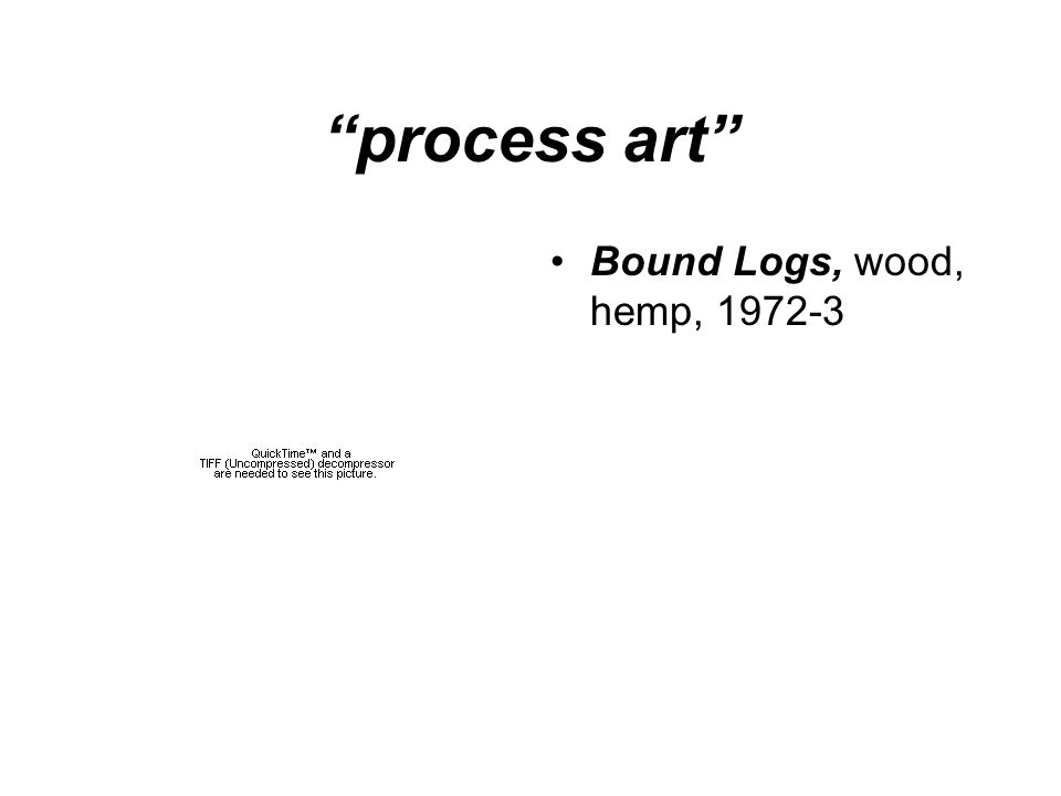 process art Bound Logs, wood, hemp, 1972-3