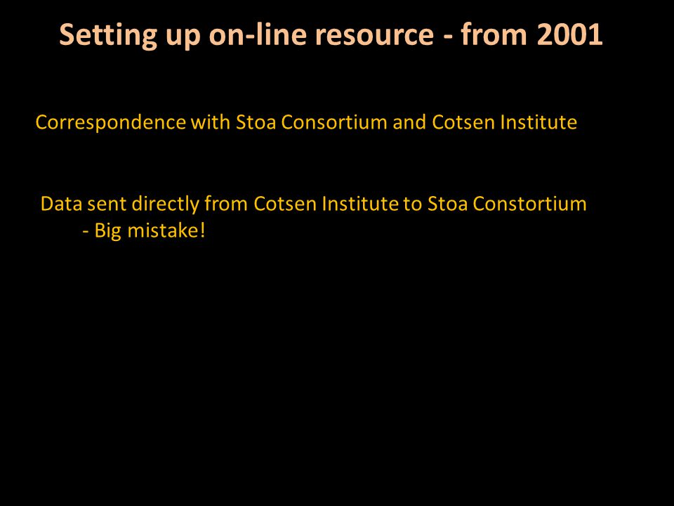 Setting up on-line resource - from 2001 Correspondence with Stoa Consortium and Cotsen Institute Data sent directly from Cotsen Institute to Stoa Constortium - Big mistake!
