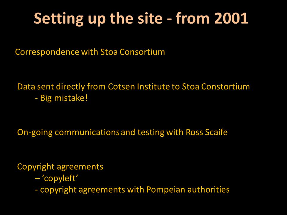 Setting up the site - from 2001 Correspondence with Stoa Consortium Data sent directly from Cotsen Institute to Stoa Constortium - Big mistake.