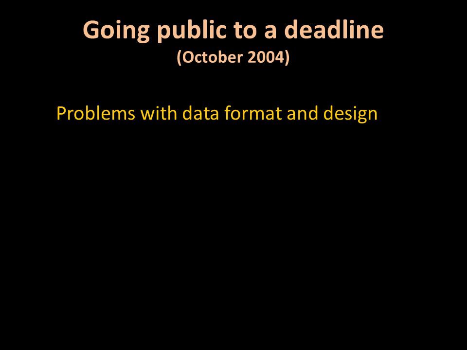 Errors in data content Going public to a deadline (October 2004)