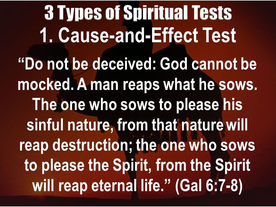 1. Cause-and-Effect Test Do not be deceived: God cannot be mocked.