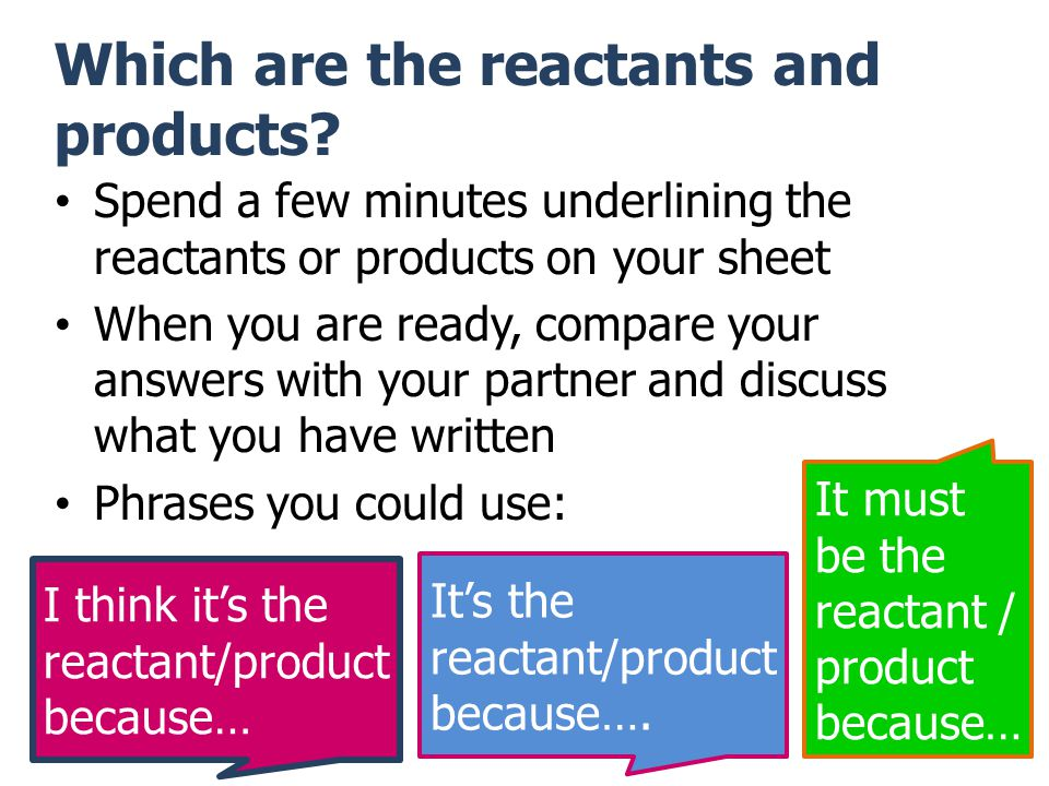 Which are the reactants and products.
