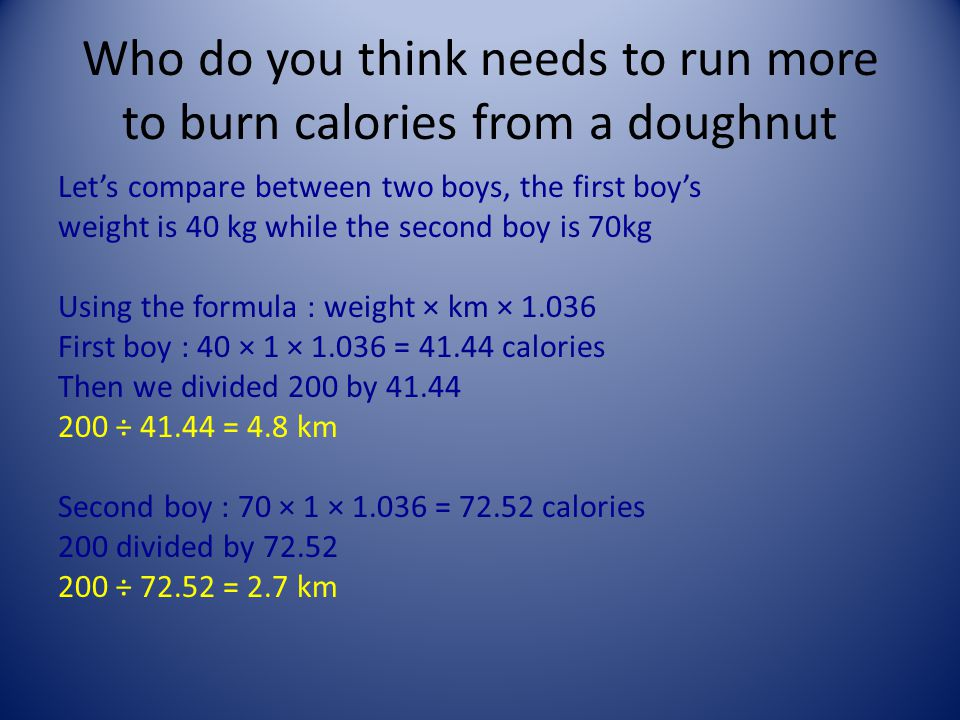 Who do you think needs to run more to burn calories from a doughnut Let's compare between two boys, the first boy's weight is 40 kg while the second boy is 70kg Using the formula : weight × km × 1.036 First boy : 40 × 1 × 1.036 = 41.44 calories Then we divided 200 by 41.44 200 ÷ 41.44 = 4.8 km Second boy : 70 × 1 × 1.036 = 72.52 calories 200 divided by 72.52 200 ÷ 72.52 = 2.7 km