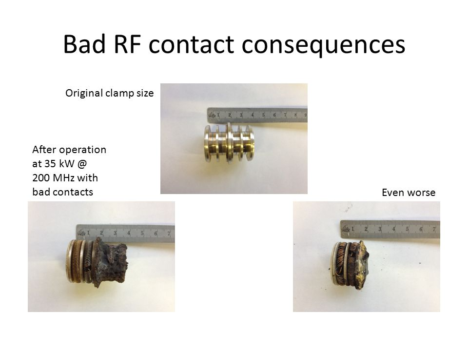 Bad RF contact consequences Original clamp size After operation at 35 kW @ 200 MHz with bad contacts Even worse