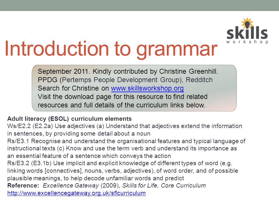 INTRODUCTION TO GRAMMAR By Christine Greenhill