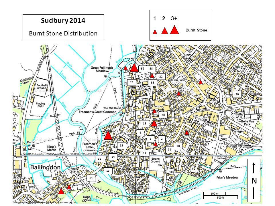 29 N 1 4 33 10 11 12 13 14 15 32 2 30 19 21 22 24 29 28 35 Sudbury 2014 Burnt Stone Distribution 1 2 3+ Burnt Stone