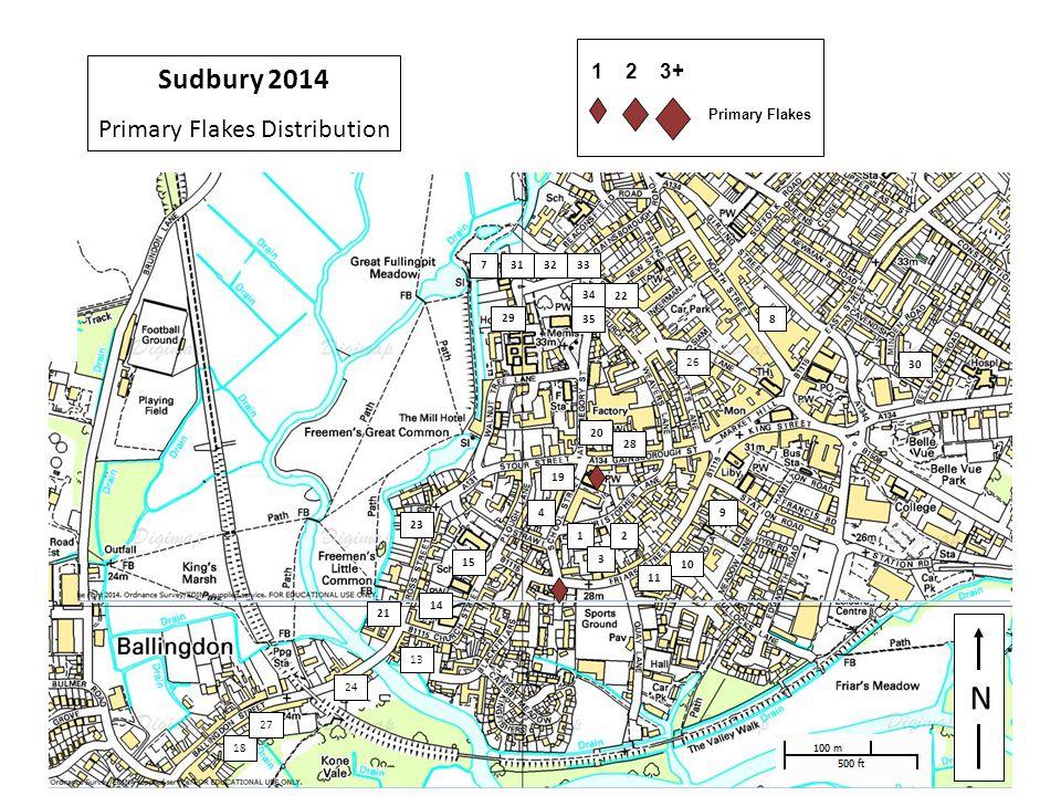 29 N 1 3 4 33 7 8 9 10 11 13 14 15 32 2 30 18 19 20 21 22 23 24 29 26 27 28 31 34 35 Sudbury 2014 Primary Flakes Distribution 1 2 3+ Primary Flakes
