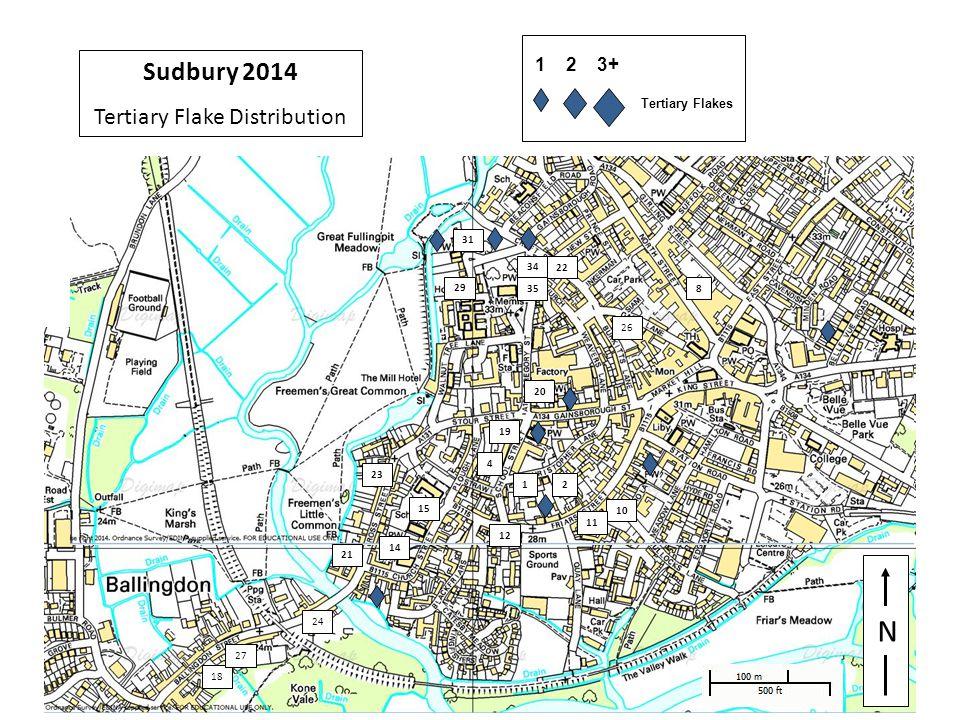 29 N 1 4 8 10 11 12 14 15 2 18 19 20 21 22 23 24 29 26 27 31 34 35 Sudbury 2014 Tertiary Flake Distribution 1 2 3+ Tertiary Flakes