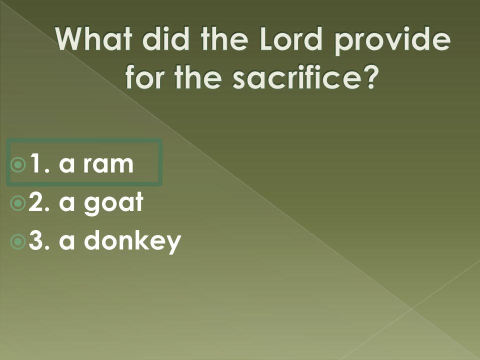  1. a ram  2. a goat  3. a donkey