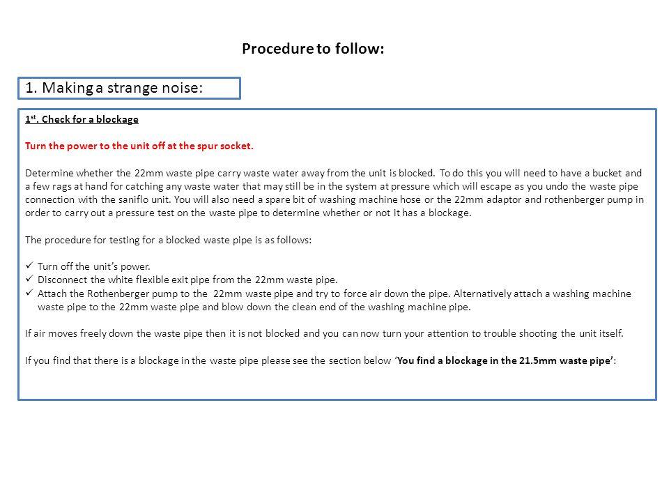 Procedure to follow: 1. Making a strange noise: 1 st.