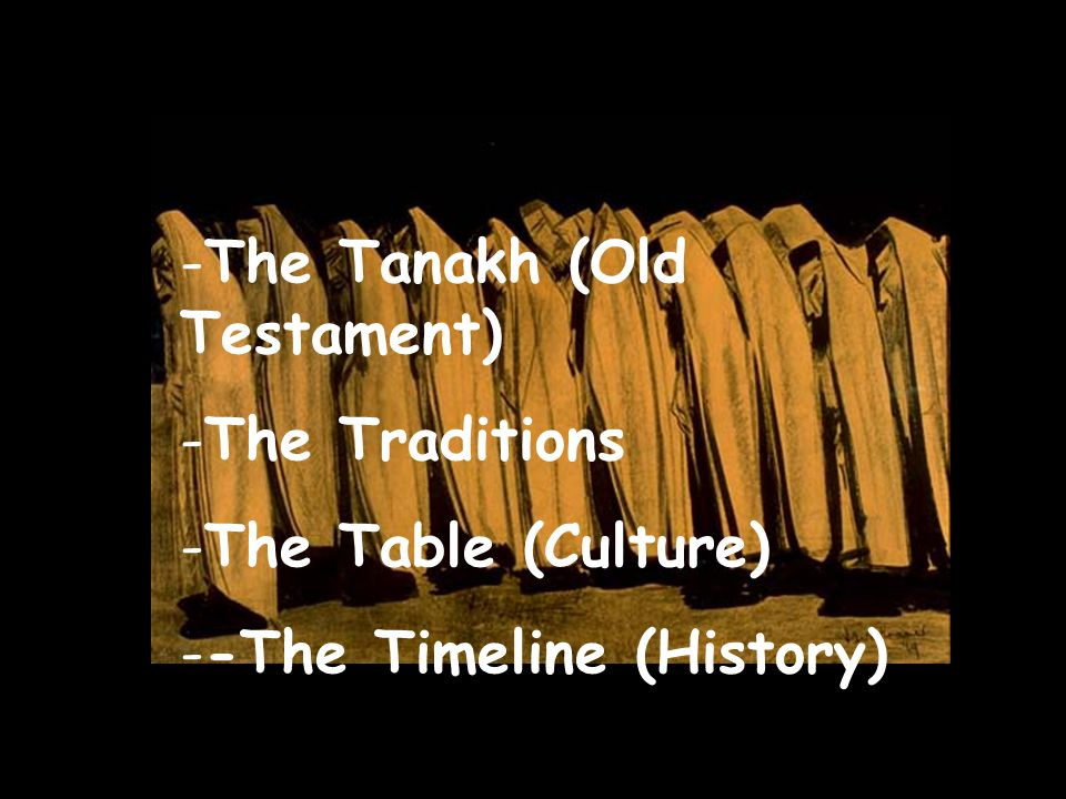 -T-The Tanakh (Old Testament) -T-The Traditions -T-The Table (Culture) -The Timeline (History)