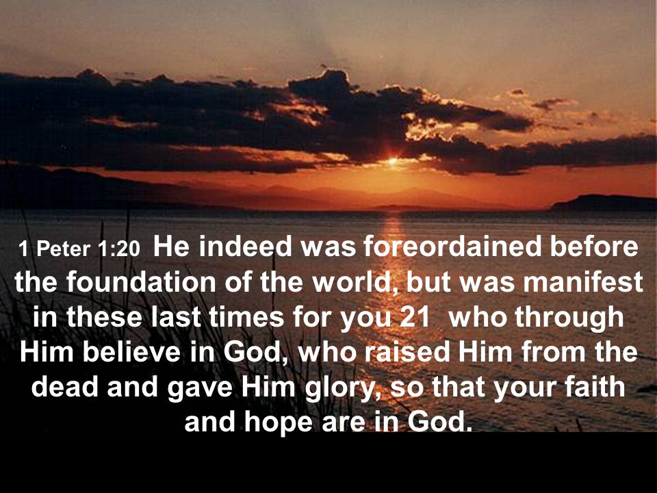 1 Peter 1:20 He indeed was foreordained before the foundation of the world, but was manifest in these last times for you 21 who through Him believe in God, who raised Him from the dead and gave Him glory, so that your faith and hope are in God.