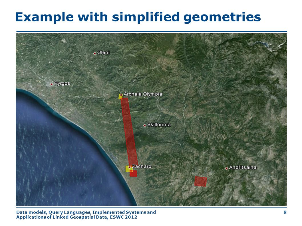 Data models, Query Languages, Implemented Systems and Applications of Linked Geospatial Data, ESWC 2012 8 Example with simplified geometries