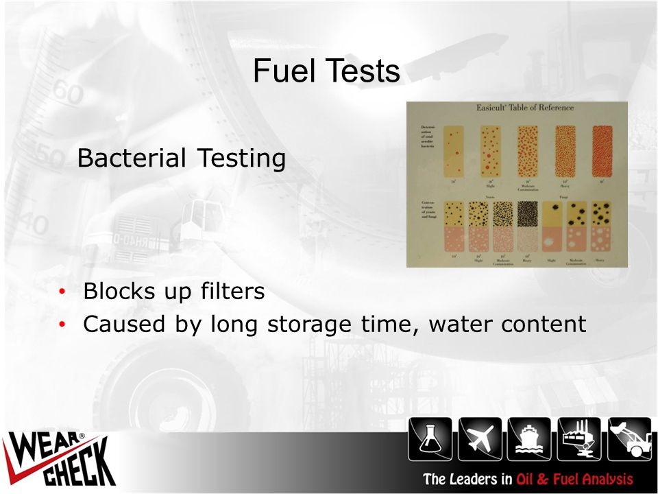 Fuel Tests Blocks up filters Caused by long storage time, water content Bacterial Testing