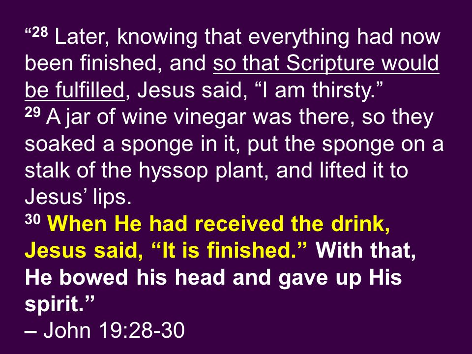 28 Later, knowing that everything had now been finished, and so that Scripture would be fulfilled, Jesus said, I am thirsty. 29 A jar of wine vinegar was there, so they soaked a sponge in it, put the sponge on a stalk of the hyssop plant, and lifted it to Jesus' lips.