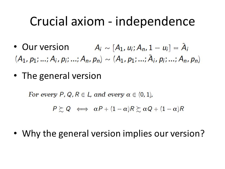 Crucial axiom - independence Our version The general version Why the general version implies our version