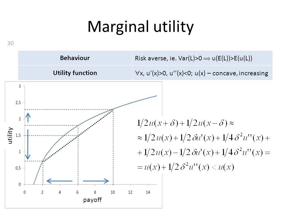 Marginal utility Behaviour Risk averse, ie. Var(L)>0  u(E(L))>E(u(L)) Utility function  x, u'(x)>0, u''(x)<0; u(x) – concave, increasing 30 payoff u