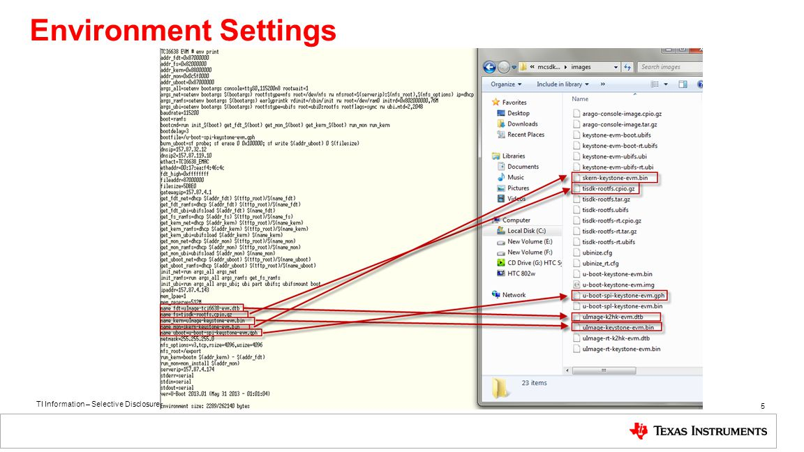 TI Information – Selective Disclosure 5 Environment Settings
