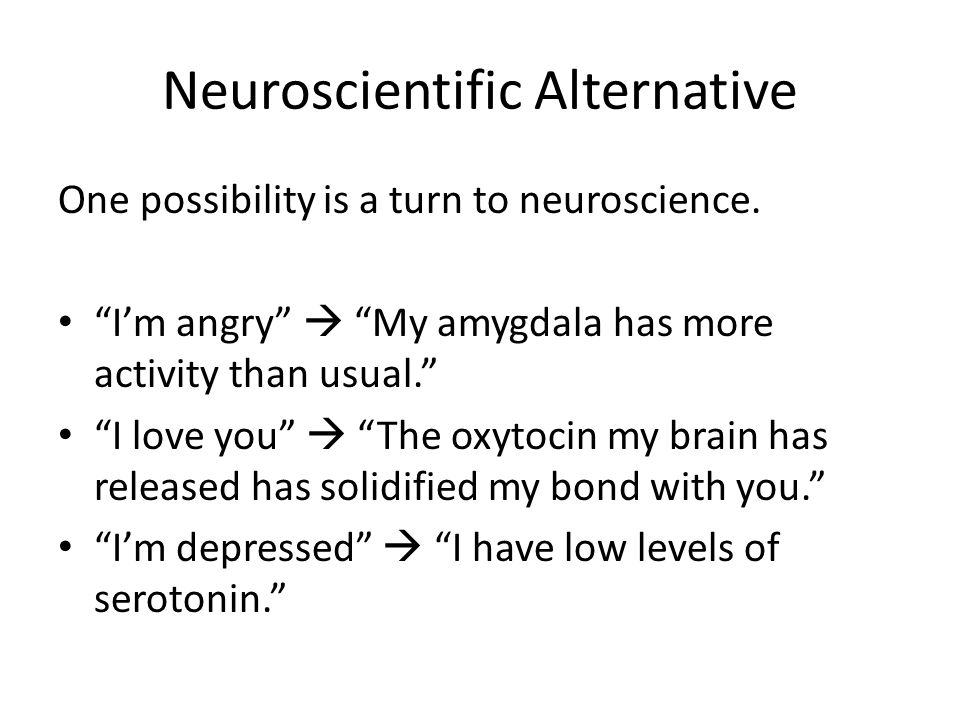 Neuroscientific Alternative One possibility is a turn to neuroscience.