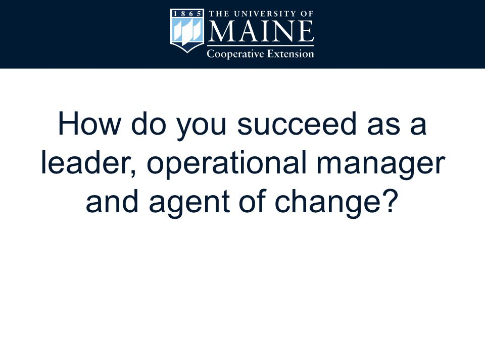 How do you succeed as a leader, operational manager and agent of change