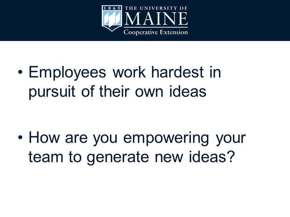 Employees work hardest in pursuit of their own ideas How are you empowering your team to generate new ideas?