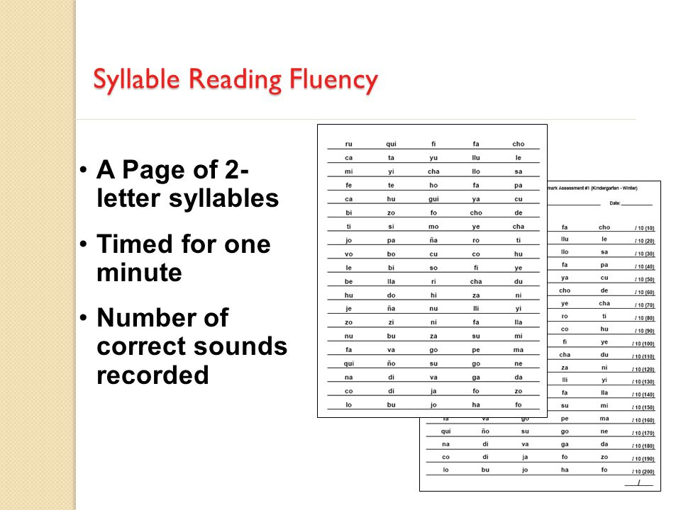 A Page of 2- letter syllables Timed for one minute Number of correct sounds recorded Syllable Reading Fluency