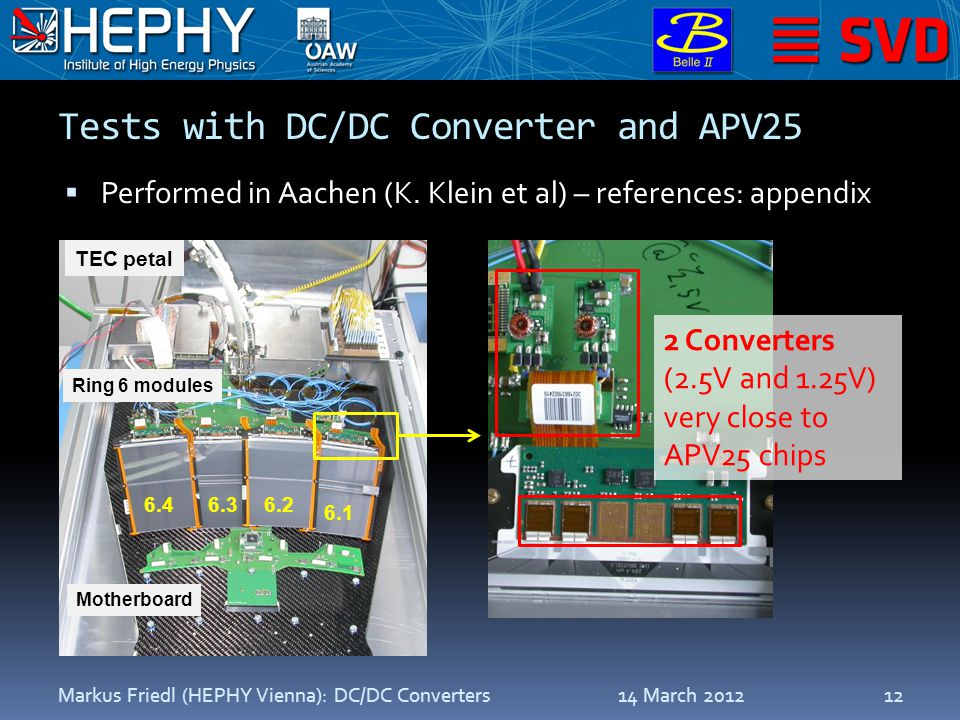 Tests with DC/DC Converter and APV25  Performed in Aachen (K.