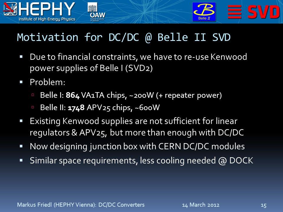 Motivation for DC/DC @ Belle II SVD  Due to financial constraints, we have to re-use Kenwood power supplies of Belle I (SVD2)  Problem:  Belle I: 8