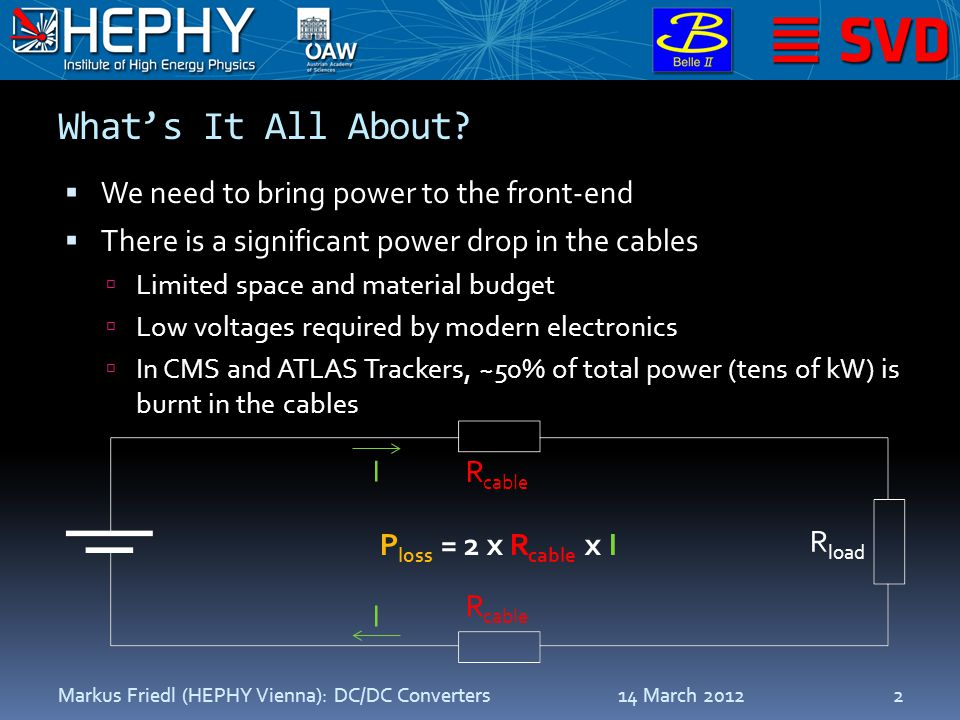 What's It All About?  We need to bring power to the front-end  There is a significant power drop in the cables  Limited space and material budget 