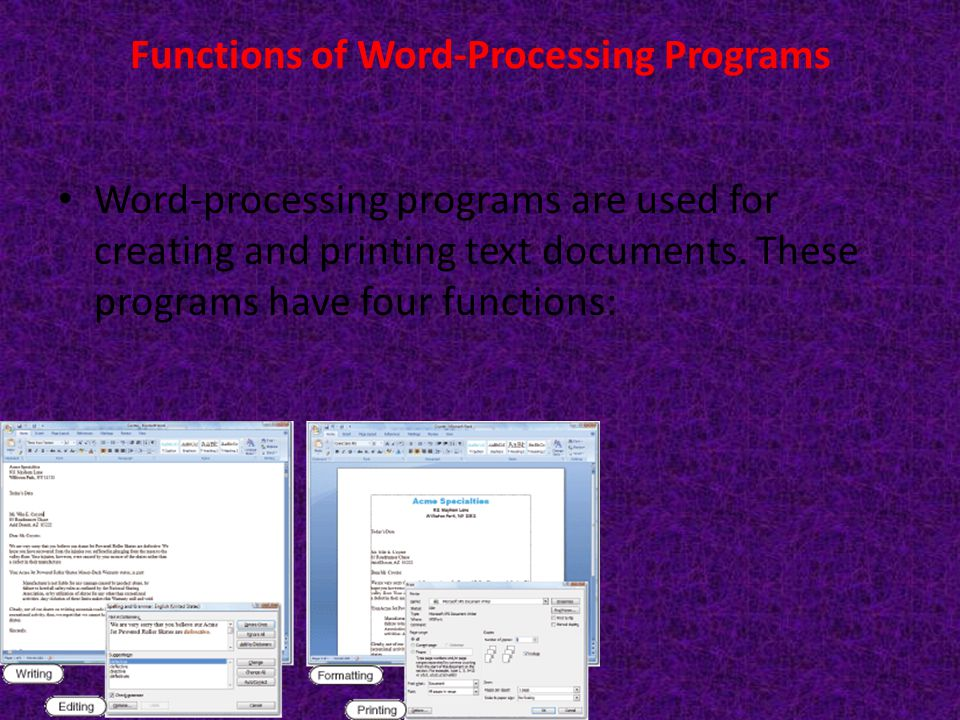 Functions of Word-Processing Programs Word-processing programs are used for creating and printing text documents. These programs have four functions: