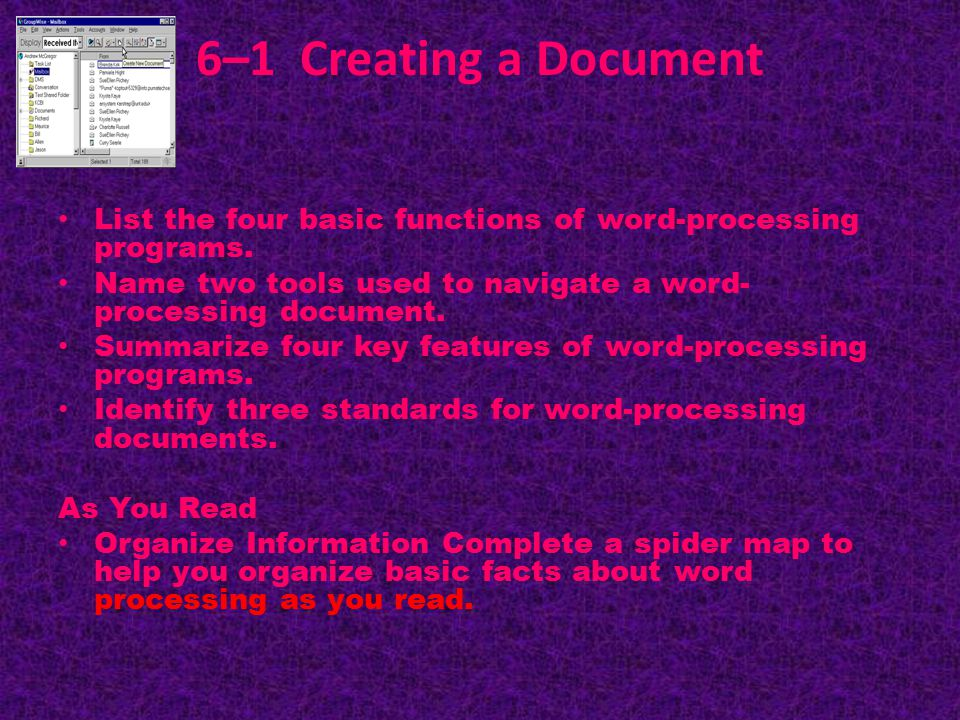 6–1 Creating a Document List the four basic functions of word-processing programs.