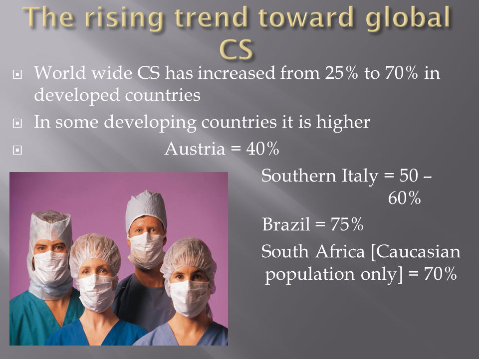  World wide CS has increased from 25% to 70% in developed countries  In some developing countries it is higher  Austria = 40%  Southern Italy = 50
