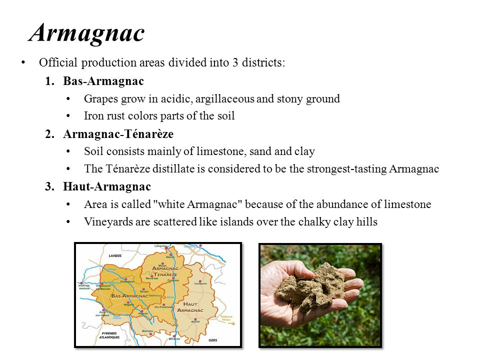 Armagnac Official production areas divided into 3 districts: 1.Bas-Armagnac Grapes grow in acidic, argillaceous and stony ground Iron rust colors parts of the soil 2.Armagnac-Ténarèze Soil consists mainly of limestone, sand and clay The Ténarèze distillate is considered to be the strongest-tasting Armagnac 3.Haut-Armagnac Area is called white Armagnac because of the abundance of limestone Vineyards are scattered like islands over the chalky clay hills