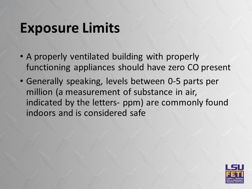 Exposure Limits A properly ventilated building with properly functioning appliances should have zero CO present Generally speaking, levels between 0-5 parts per million (a measurement of substance in air, indicated by the letters- ppm) are commonly found indoors and is considered safe