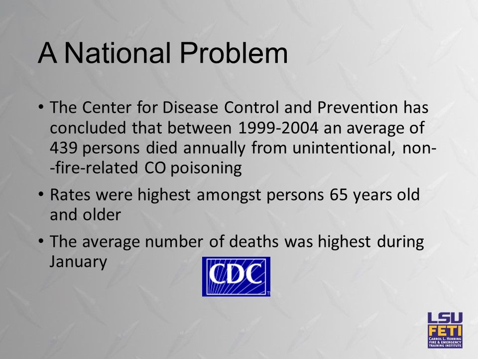 A National Problem The Center for Disease Control and Prevention has concluded that between 1999-2004 an average of 439 persons died annually from unintentional, non- -fire-related CO poisoning Rates were highest amongst persons 65 years old and older The average number of deaths was highest during January