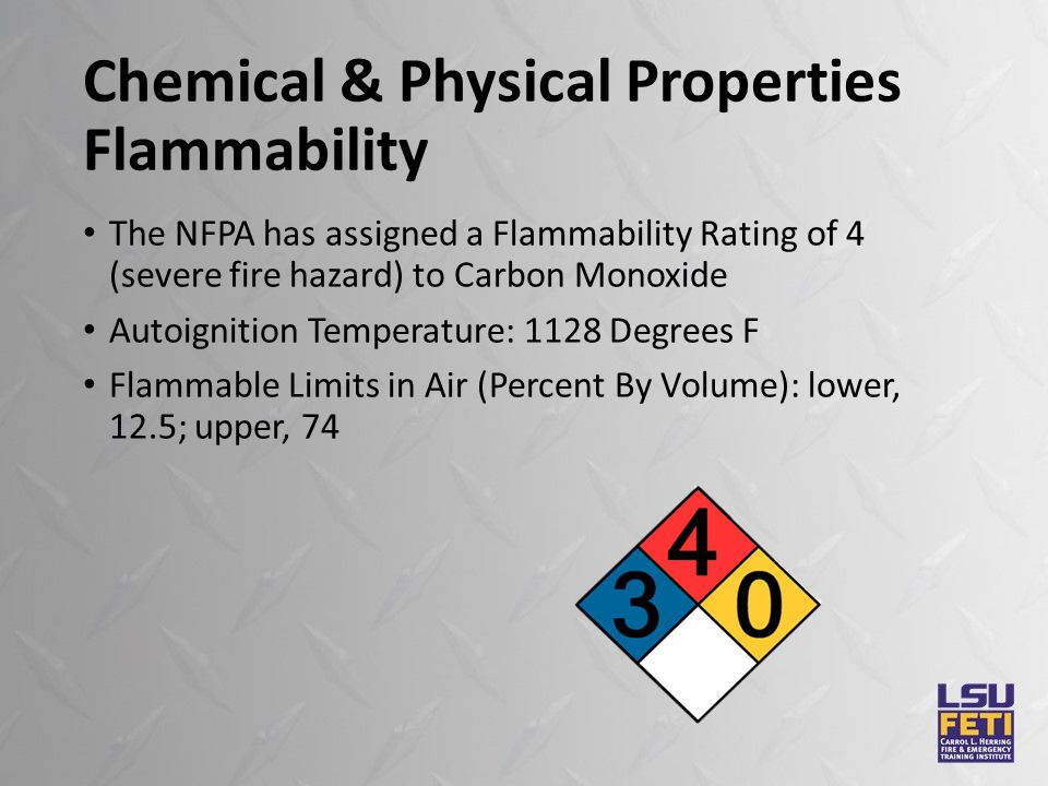 Chemical & Physical Properties Flammability The NFPA has assigned a Flammability Rating of 4 (severe fire hazard) to Carbon Monoxide Autoignition Temperature: 1128 Degrees F Flammable Limits in Air (Percent By Volume): lower, 12.5; upper, 74