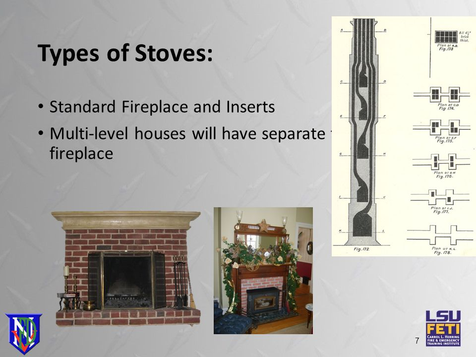 Types of Stoves: Standard Fireplace and Inserts Multi-level houses will have separate flues for every fireplace 7