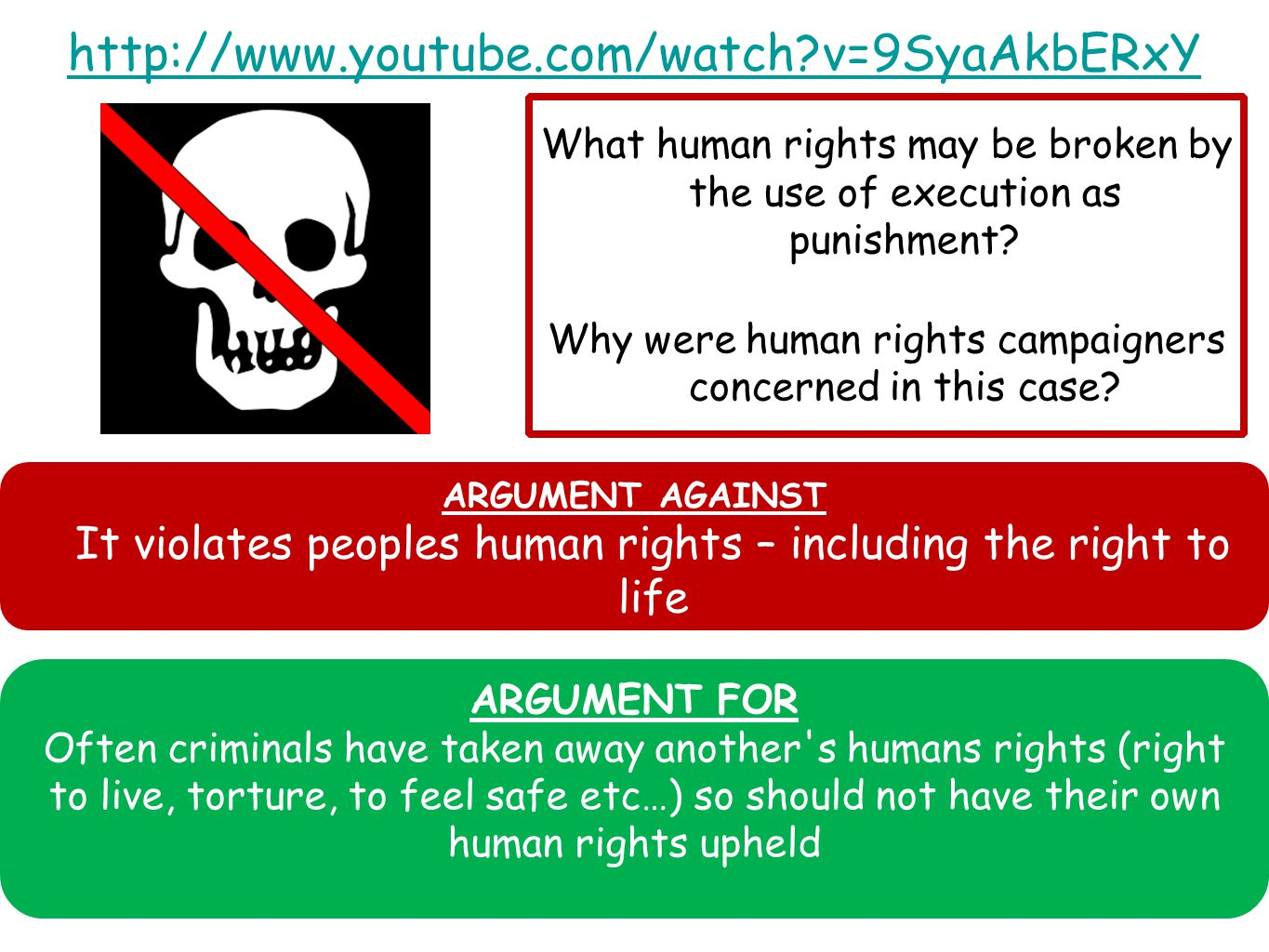 http://www.youtube.com/watch v=9SyaAkbERxY What human rights may be broken by the use of execution as punishment.