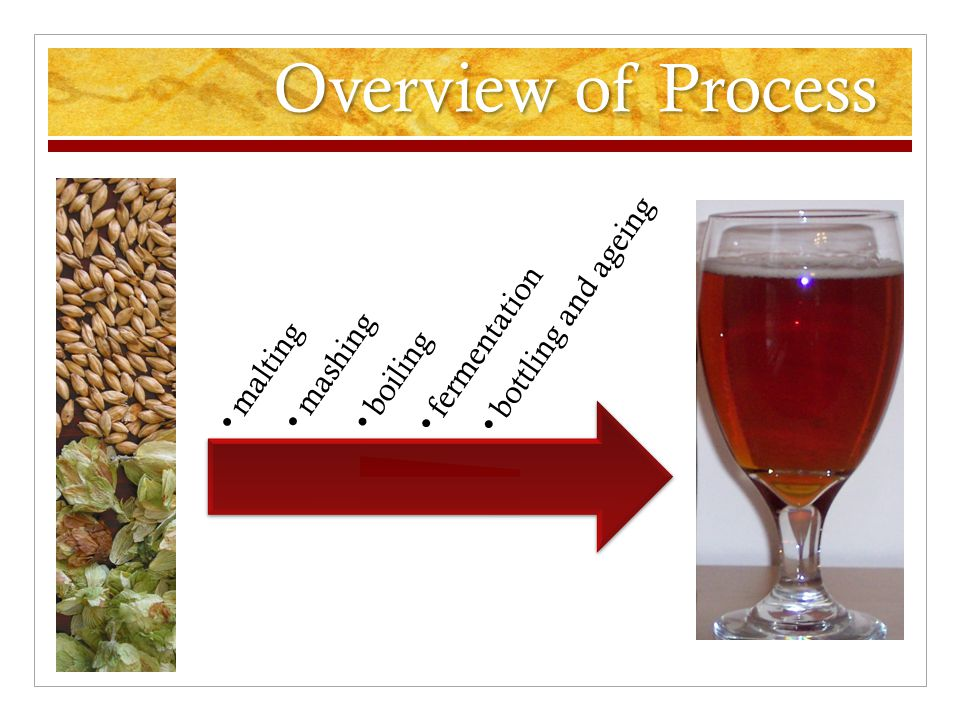 Overview of Process malting mashing boiling fermentation bottling and ageing