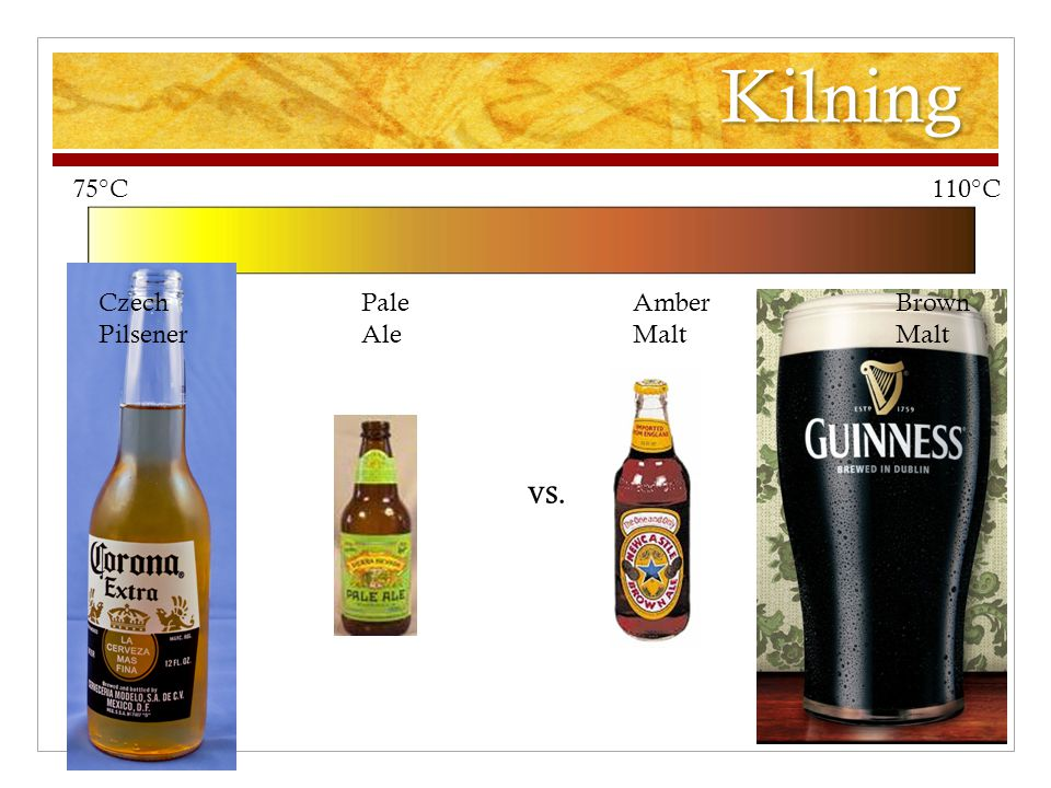 Kilning 75°C 110°C vs. Czech Pilsener Pale Ale Amber Malt Brown Malt