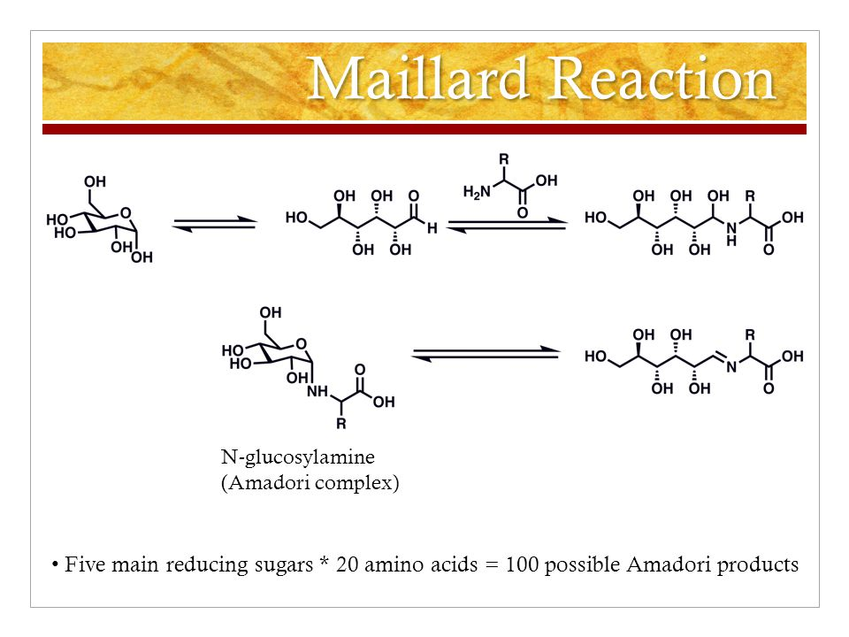 Maillard Reaction N-glucosylamine (Amadori complex) Five main reducing sugars * 20 amino acids = 100 possible Amadori products
