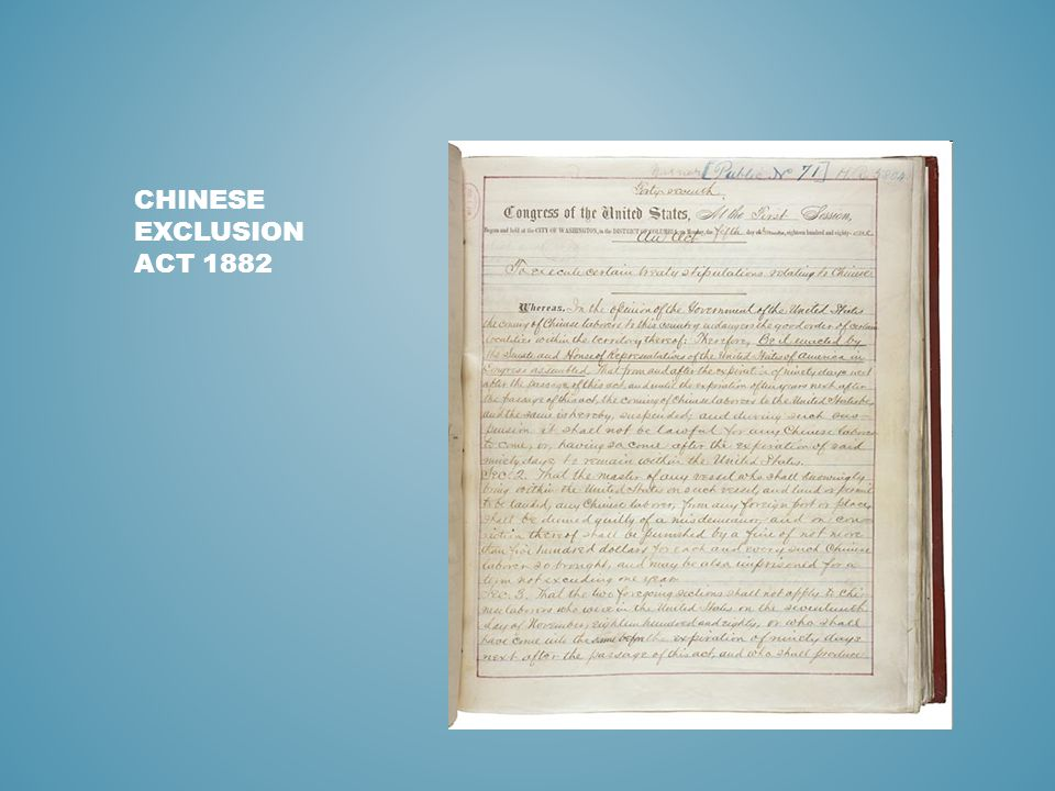 CHINESE EXCLUSION ACT 1882