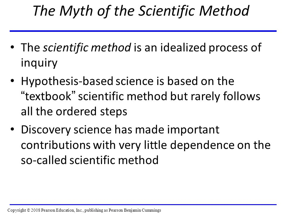 The Myth of the Scientific Method The scientific method is an idealized process of inquiry Hypothesis-based science is based on the textbook scientific method but rarely follows all the ordered steps Discovery science has made important contributions with very little dependence on the so-called scientific method Copyright © 2008 Pearson Education, Inc., publishing as Pearson Benjamin Cummings