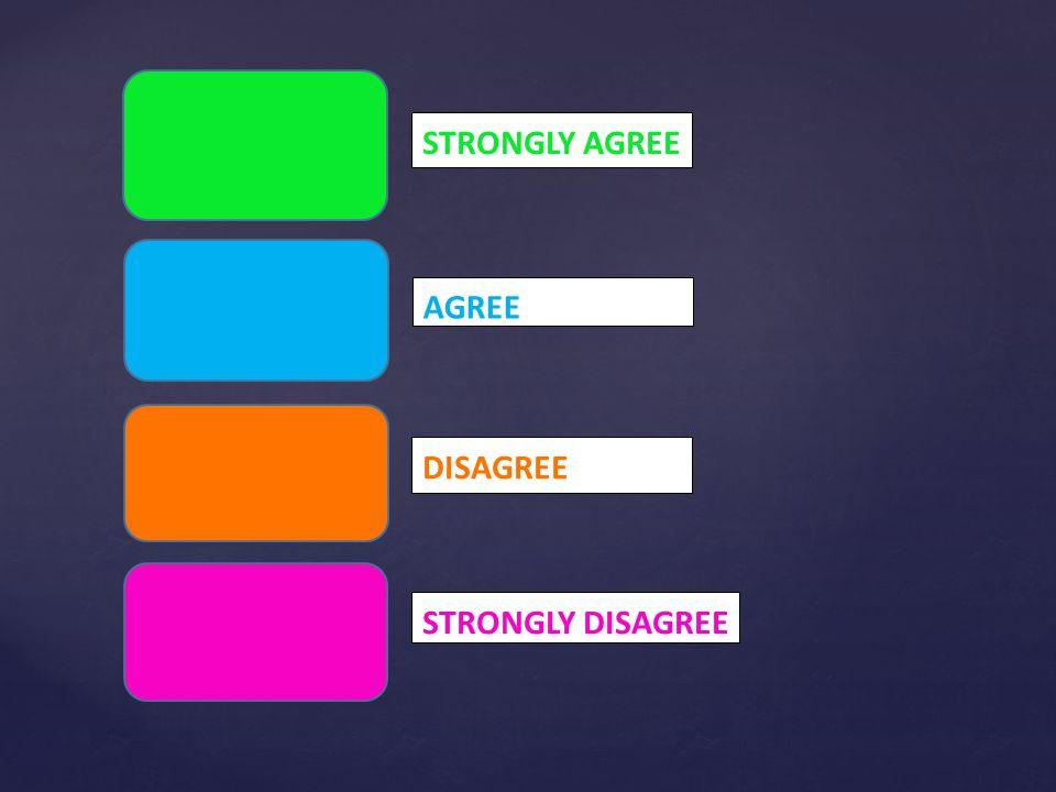 STRONGLY AGREE AGREE DISAGREE STRONGLY DISAGREE
