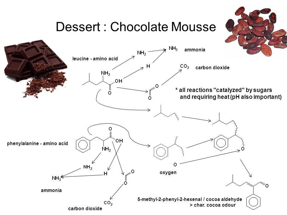 Dessert : Chocolate Mousse leucine - amino acid phenylalanine - amino acid 5-methyl-2-phenyl-2-hexenal / cocoa aldehyde > char. cocoa odour ammonia ca