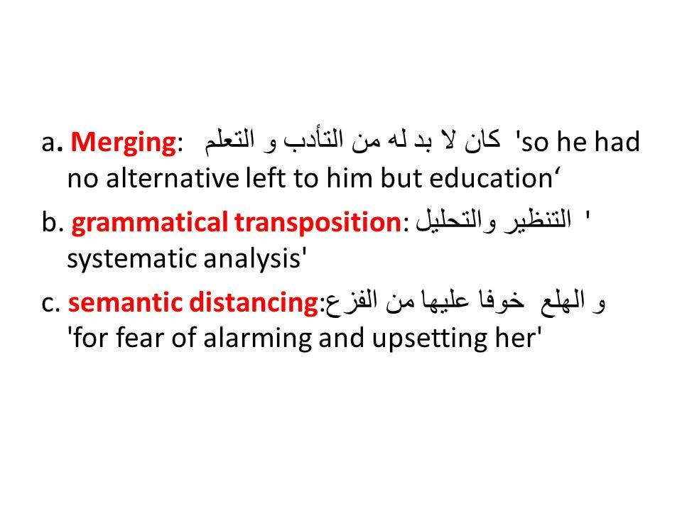 a. Merging: كان لا بد له من التأدب و التعلم 'so he had no alternative left to him but education' b. grammatical transposition: التنظير والتحليل ' syst