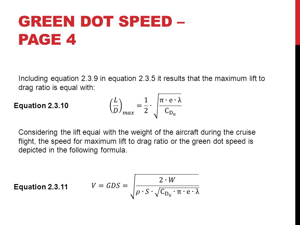 GREEN DOT SPEED – PAGE 4 Equation 2.3.10 Equation 2.3.11