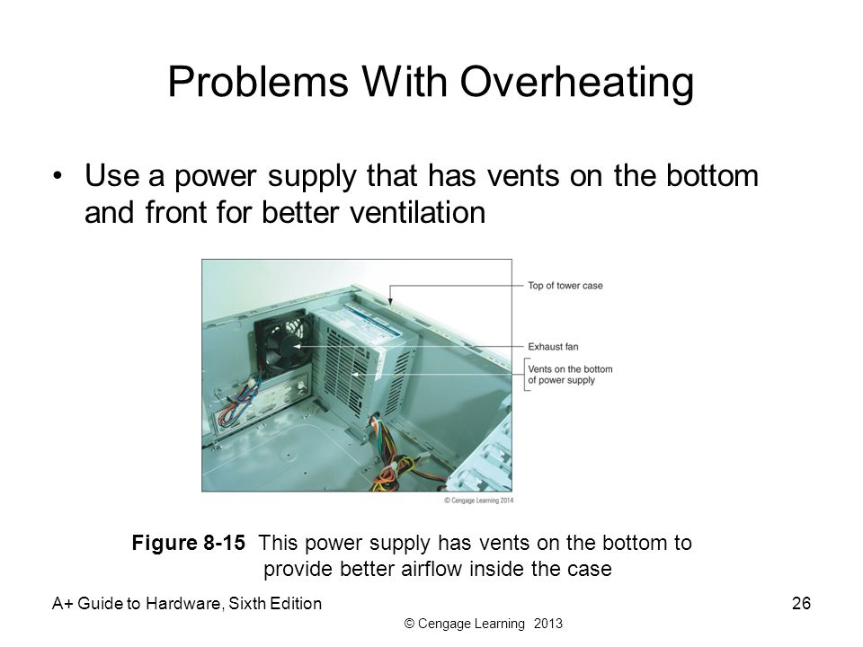© Cengage Learning 2013 Problems With Overheating Use a power supply that has vents on the bottom and front for better ventilation A+ Guide to Hardware, Sixth Edition26 Figure 8-15 This power supply has vents on the bottom to provide better airflow inside the case