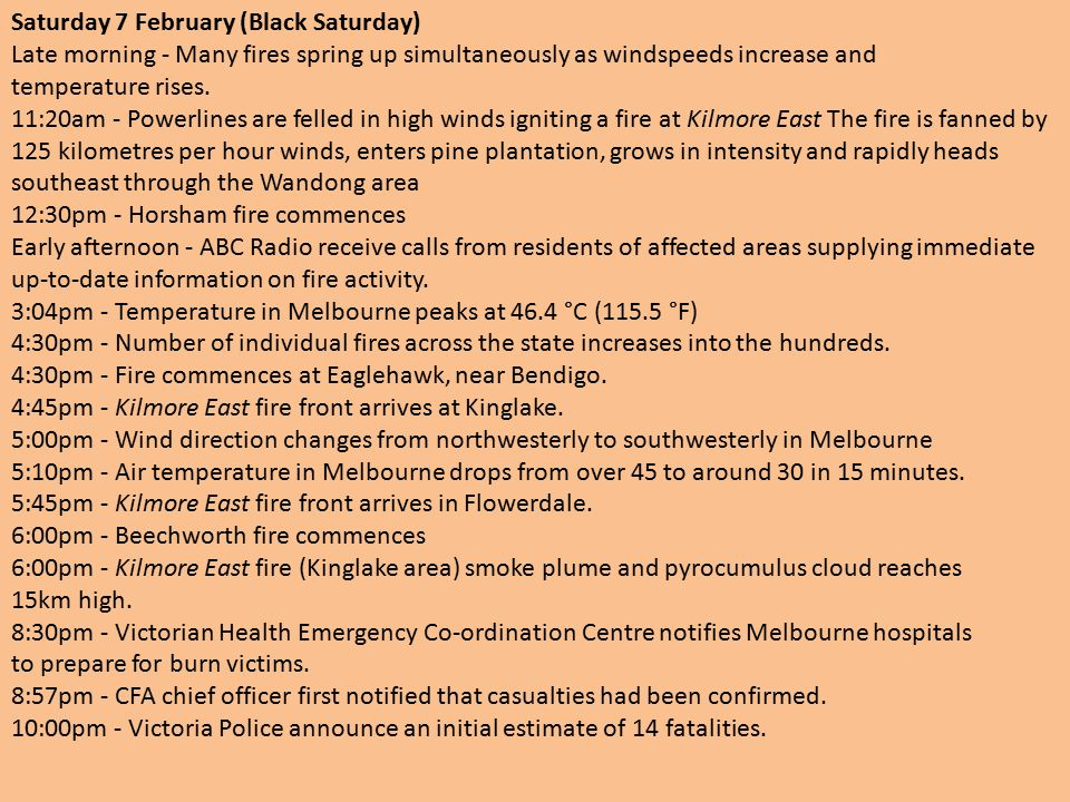 Saturday 7 February (Black Saturday) Late morning - Many fires spring up simultaneously as windspeeds increase and temperature rises.
